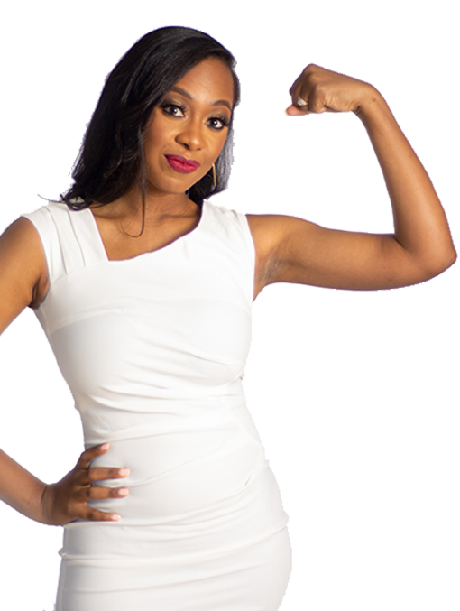 Chelsea Jean-Mary wearing a white business dress holding up strong arm